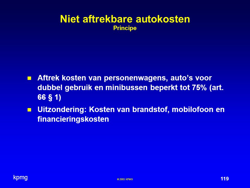 Niet aftrekbare autokosten Principe