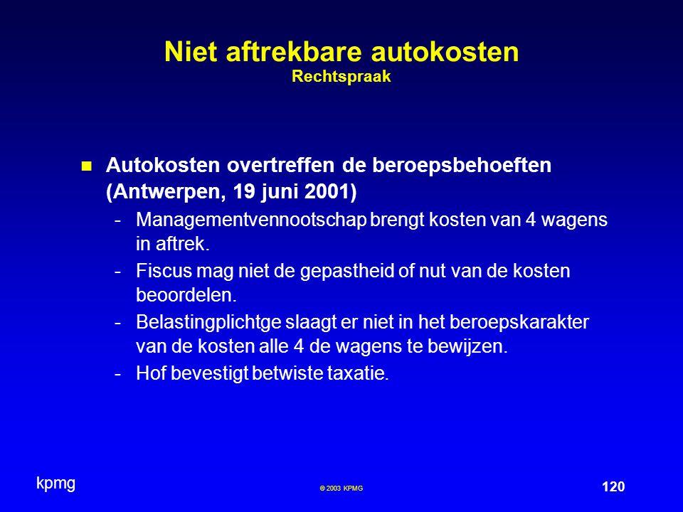 Niet aftrekbare autokosten Rechtspraak