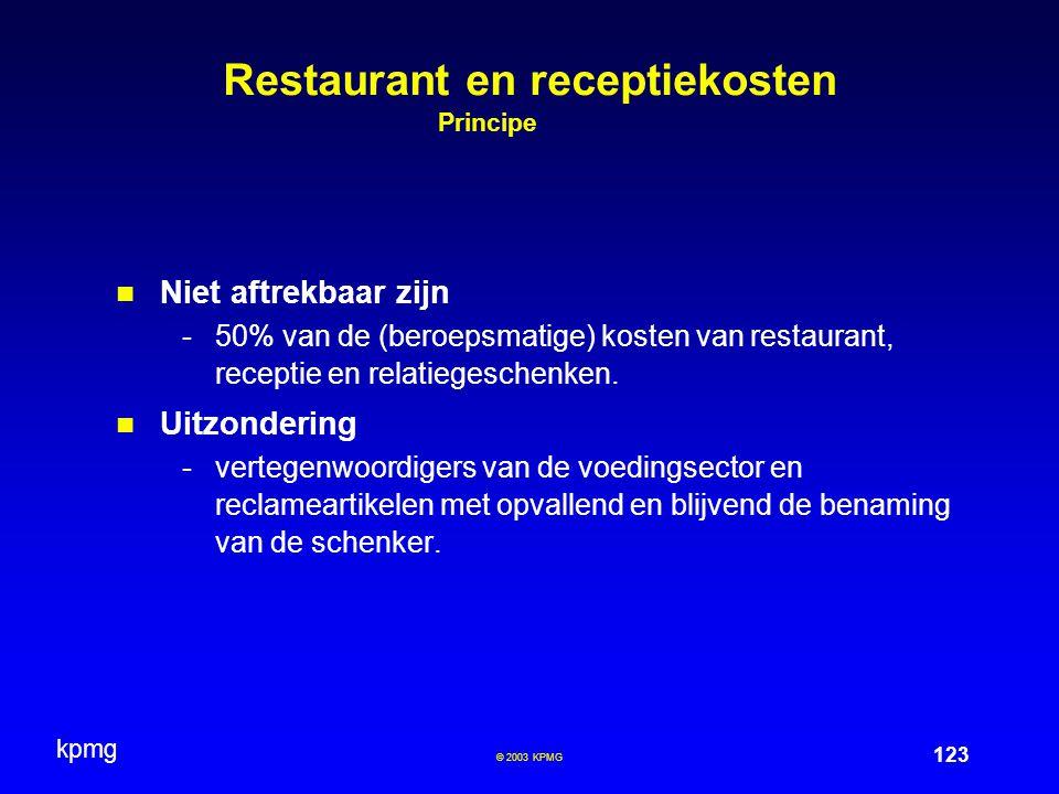 Restaurant en receptiekosten Principe