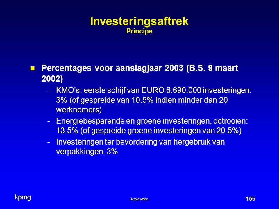 Investeringsaftrek Principe
