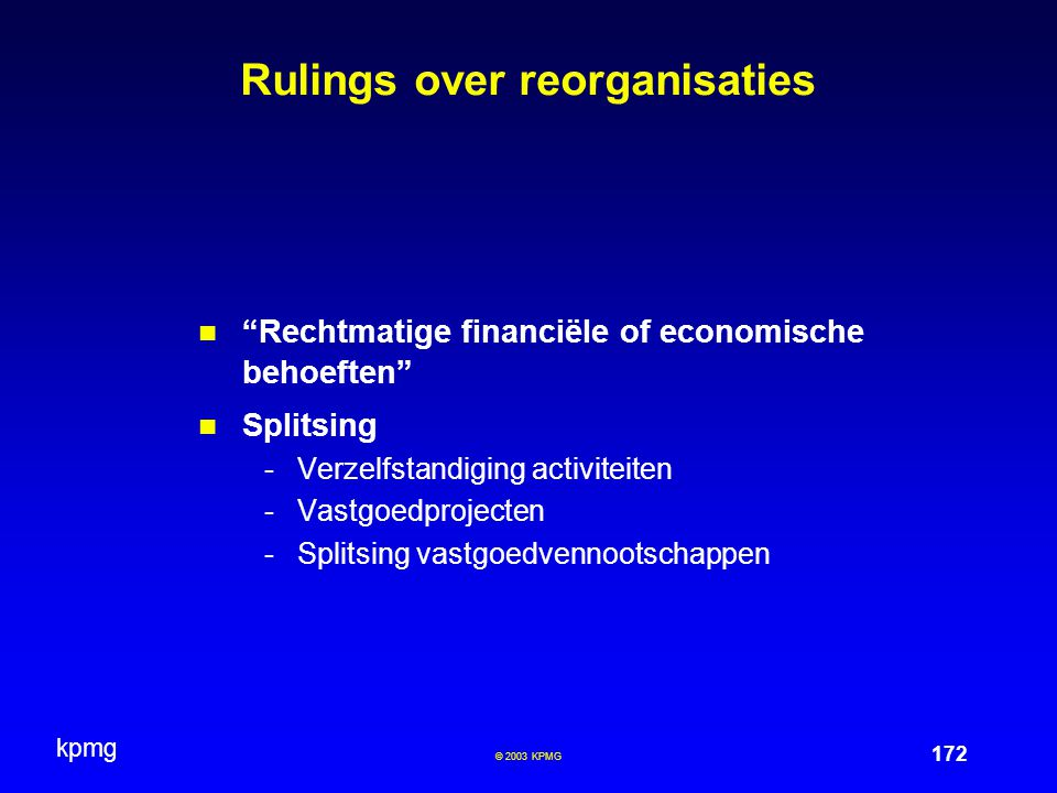 Rulings over reorganisaties