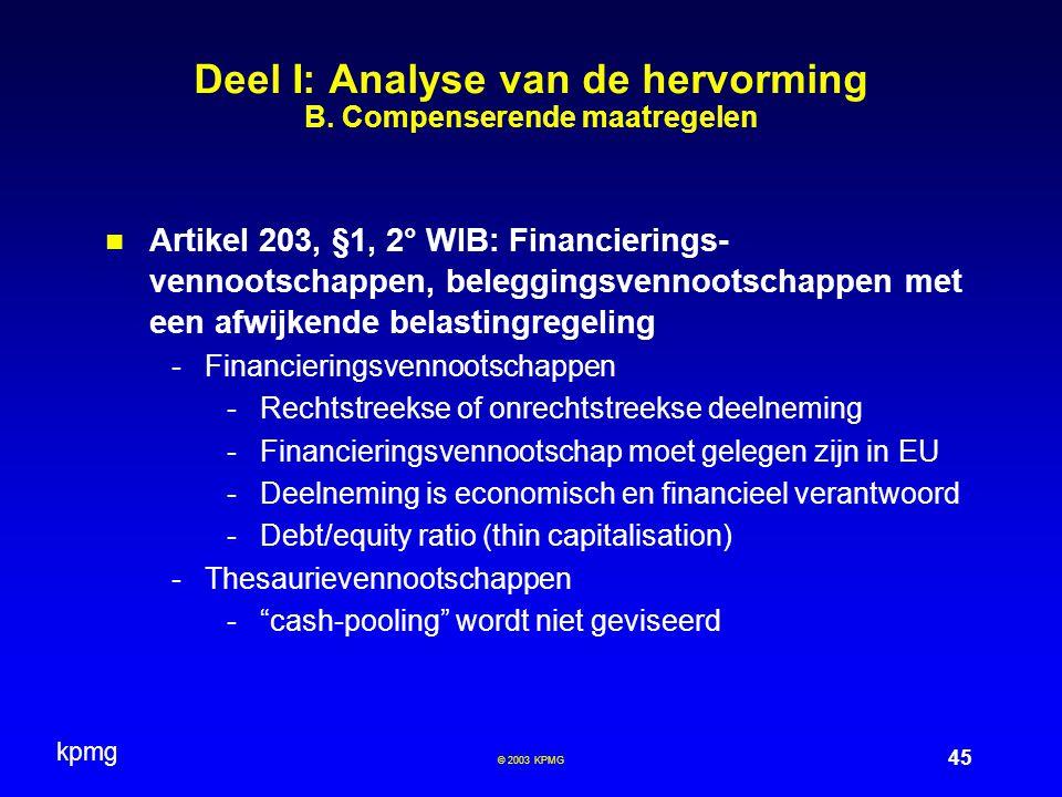 Deel I: Analyse van de hervorming B. Compenserende maatregelen