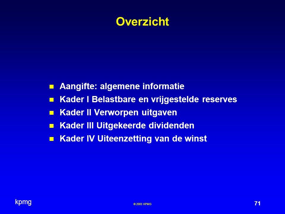 Overzicht Aangifte: algemene informatie