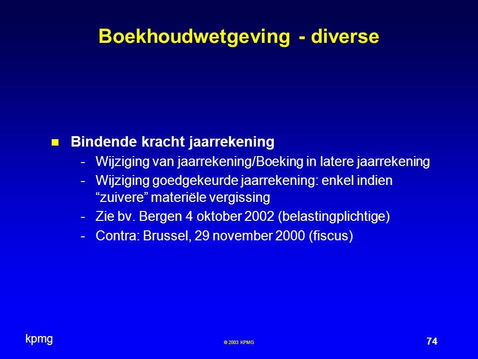 Boekhoudwetgeving - diverse
