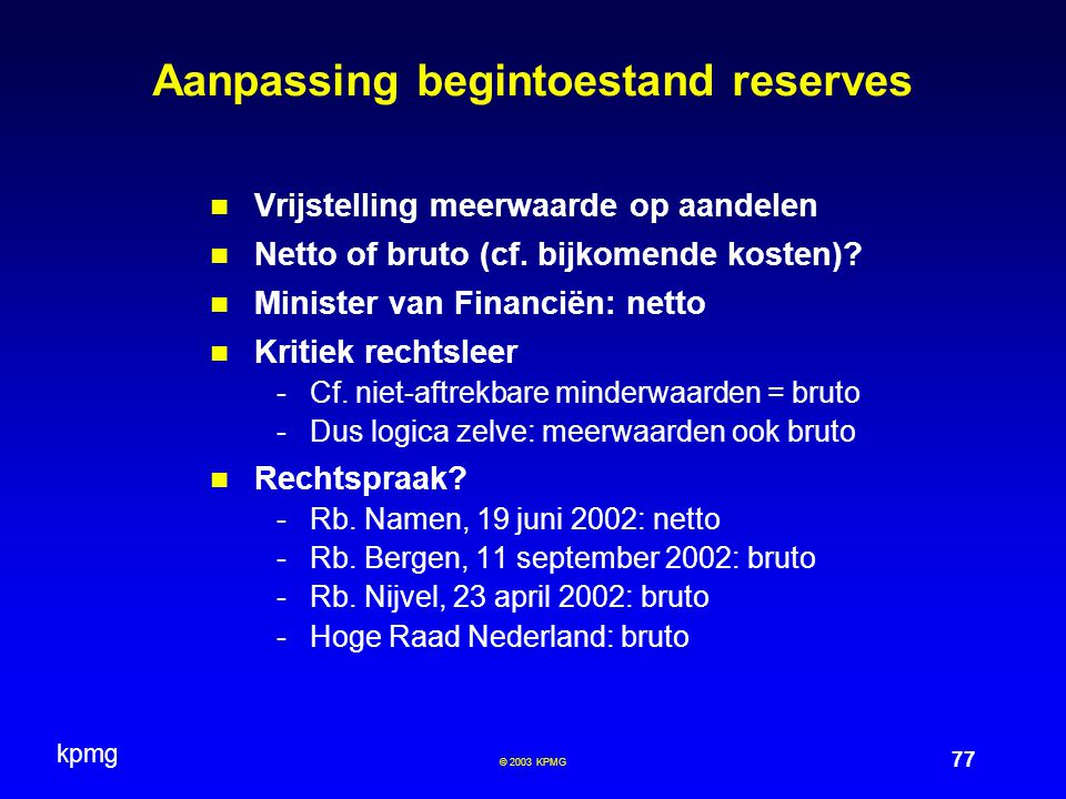 Aanpassing begintoestand reserves
