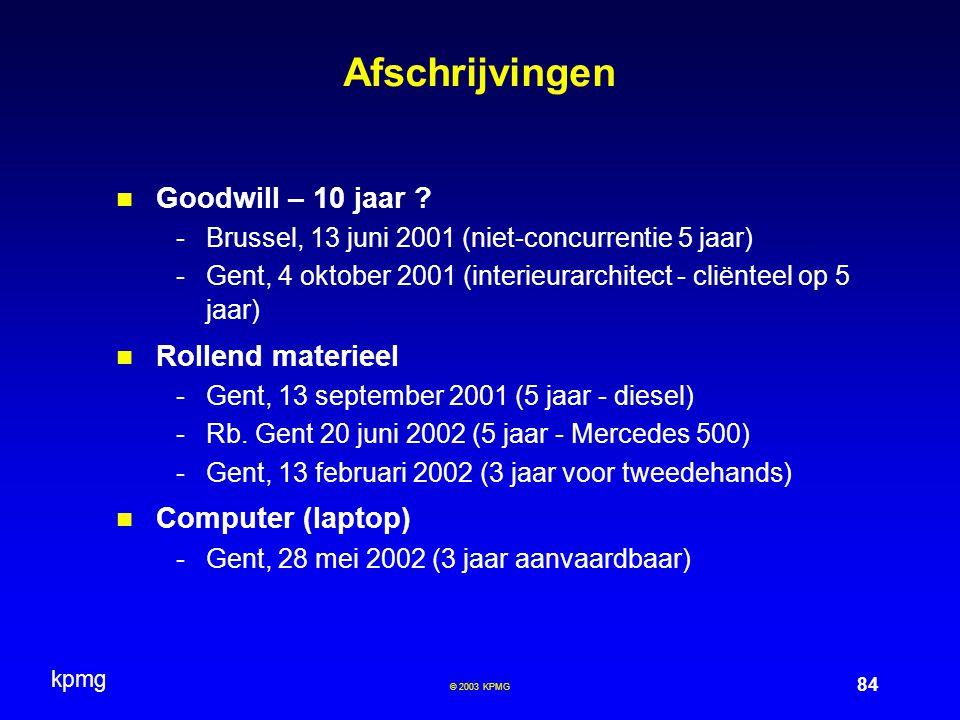 Afschrijvingen Goodwill – 10 jaar Rollend materieel