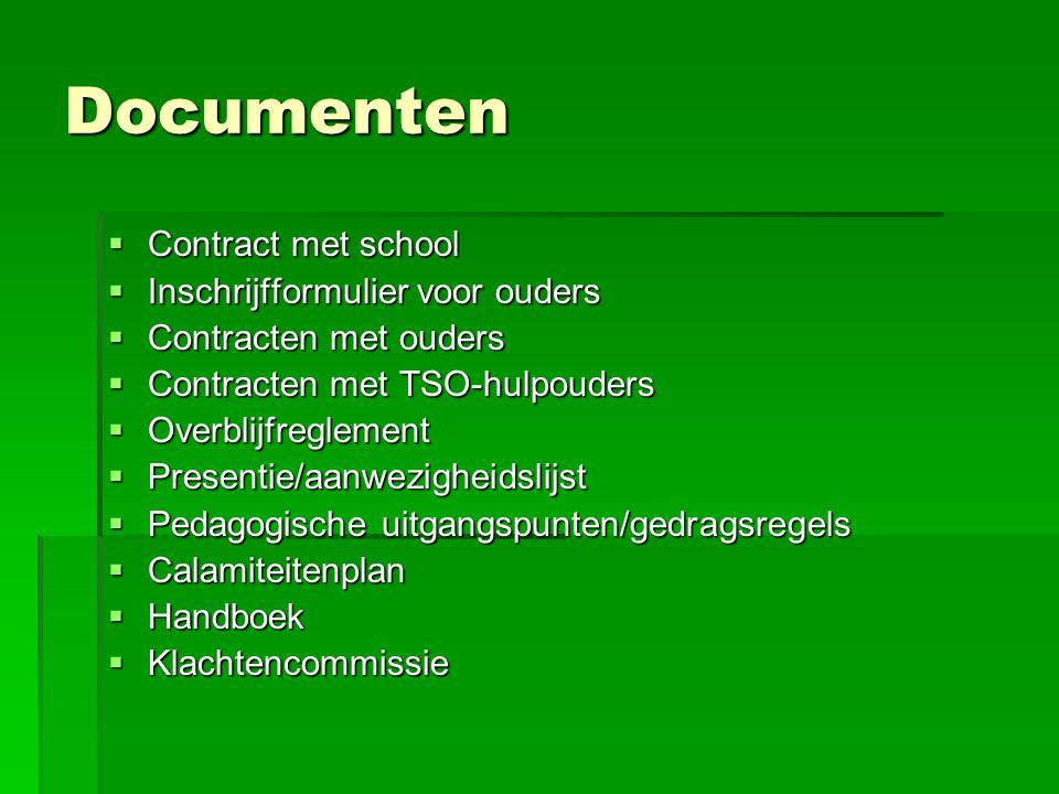 Documenten Contract met school Inschrijfformulier voor ouders