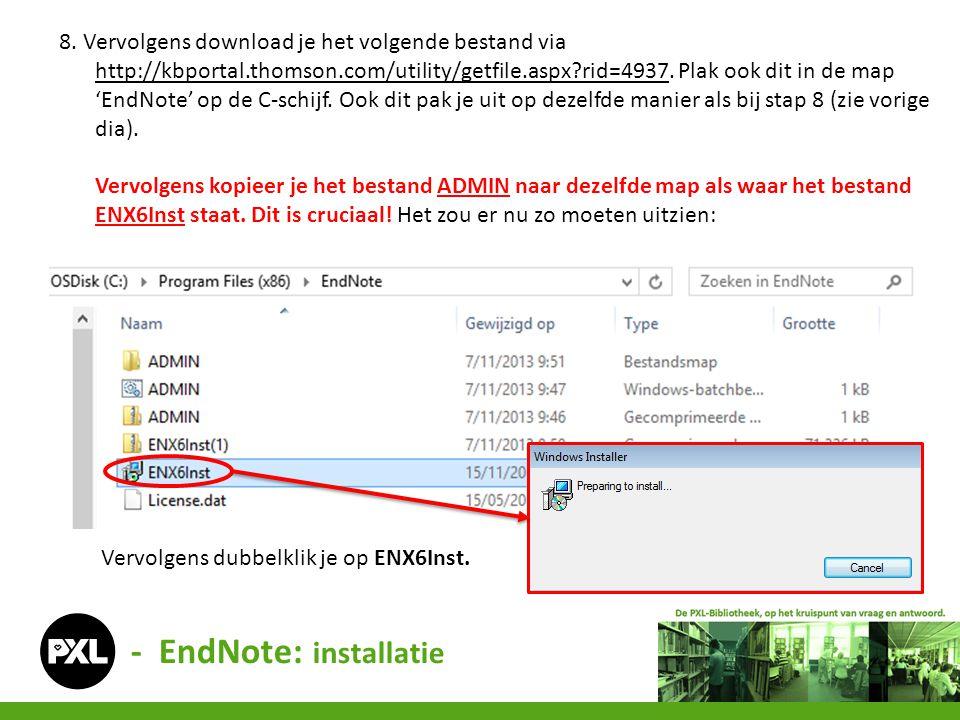 - EndNote: installatie