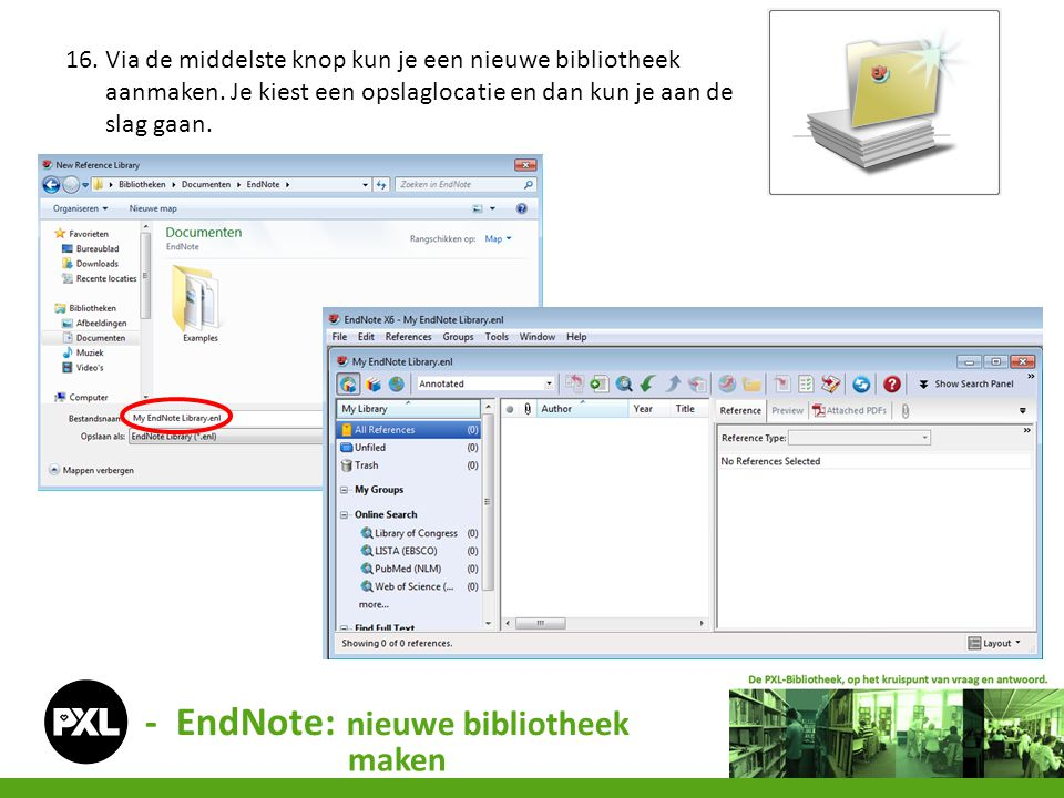 - EndNote: nieuwe bibliotheek