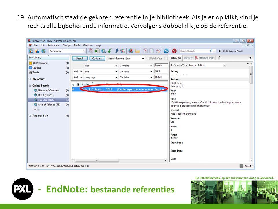 - EndNote: bestaande referenties