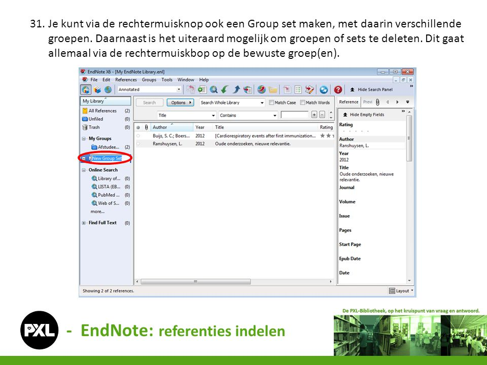 - EndNote: referenties indelen