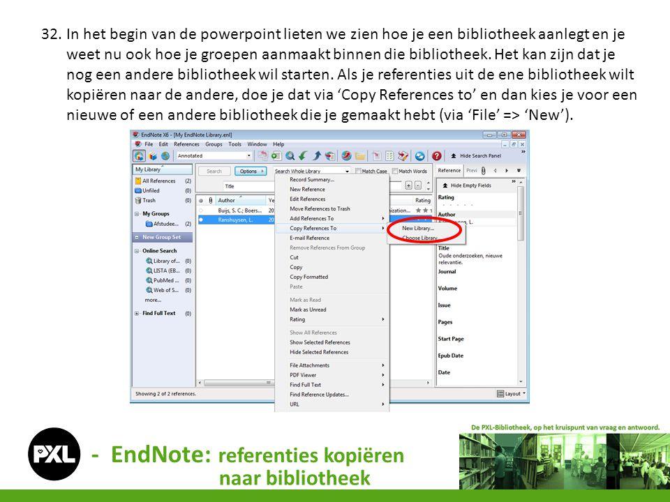 - EndNote: referenties kopiëren