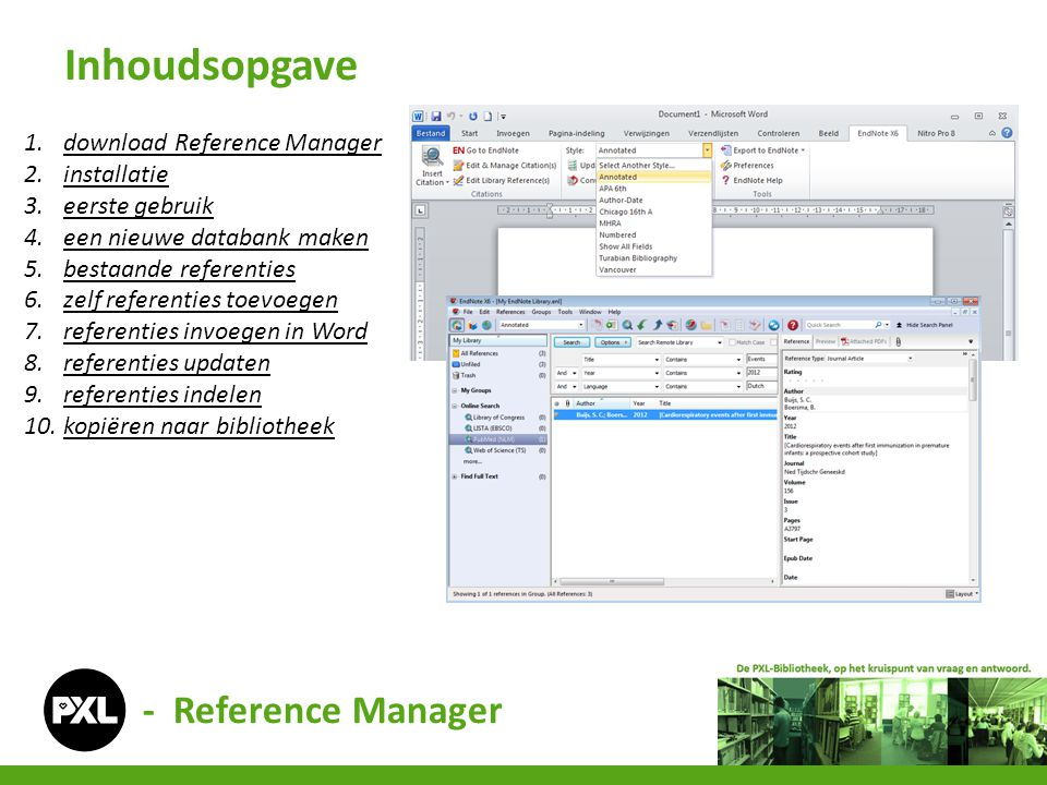 Inhoudsopgave - Reference Manager download Reference Manager