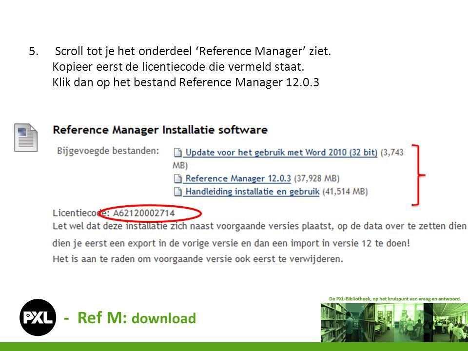 Scroll tot je het onderdeel 'Reference Manager' ziet.