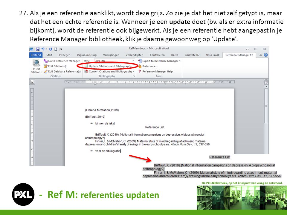 - Ref M: referenties updaten
