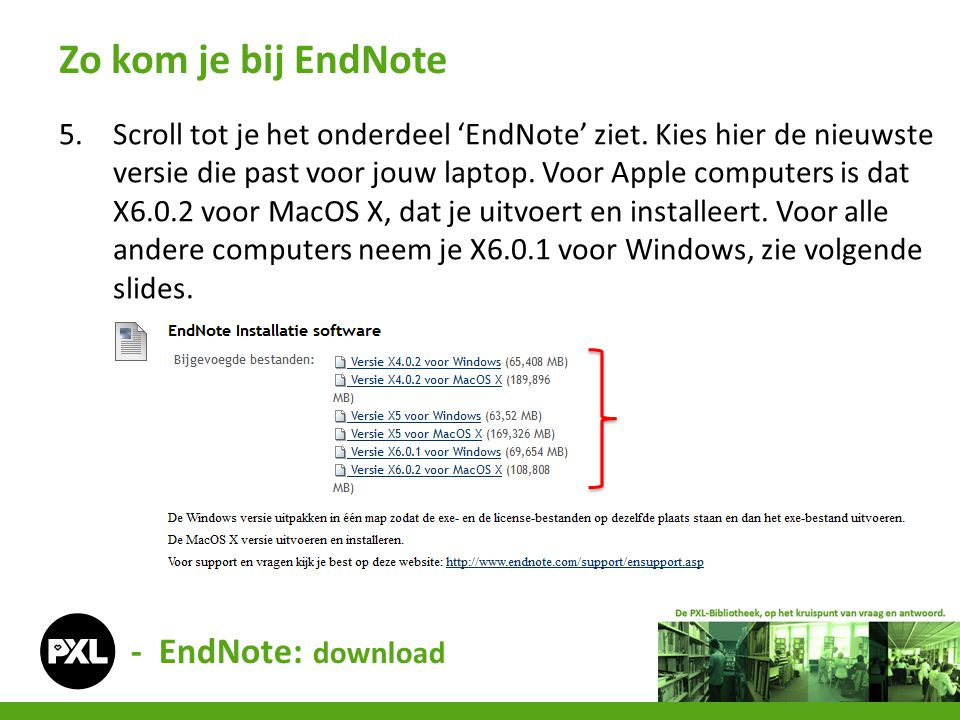 Zo kom je bij EndNote - EndNote: download