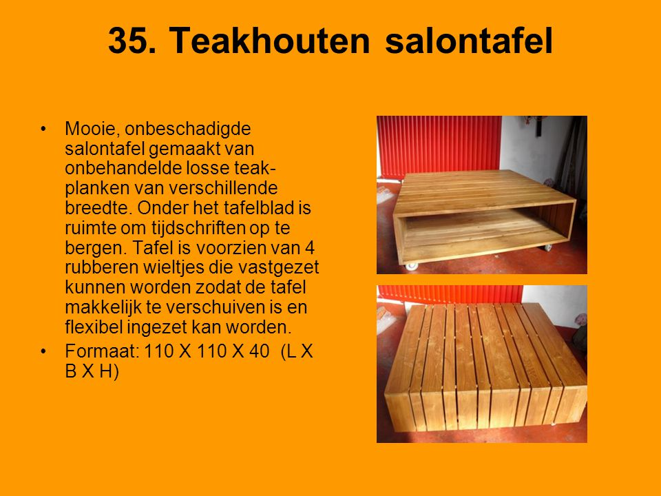35. Teakhouten salontafel