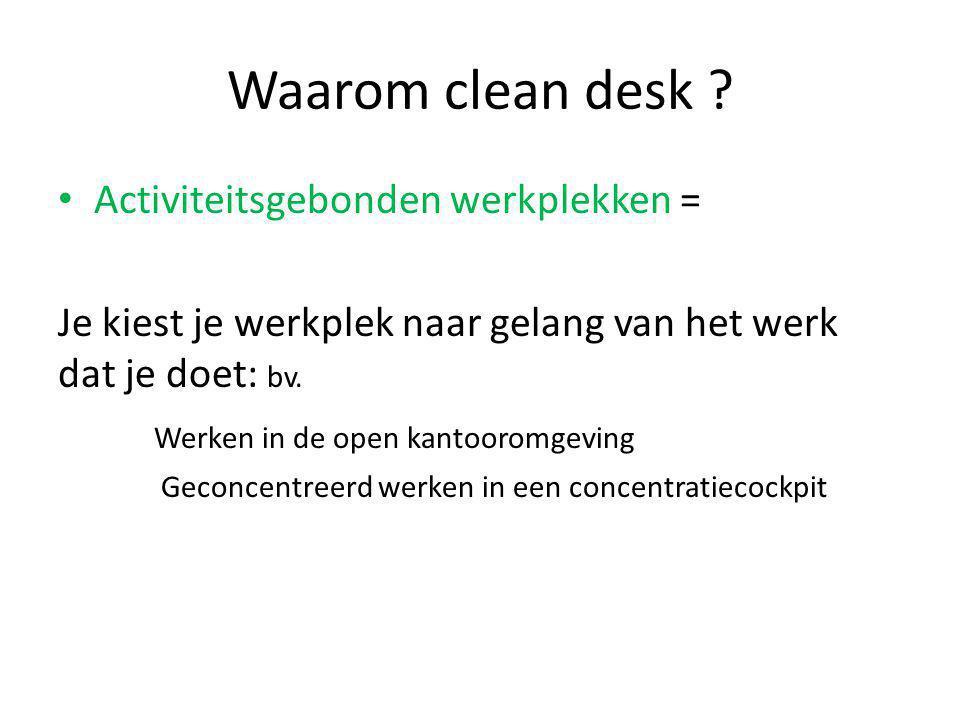 Waarom clean desk Activiteitsgebonden werkplekken =