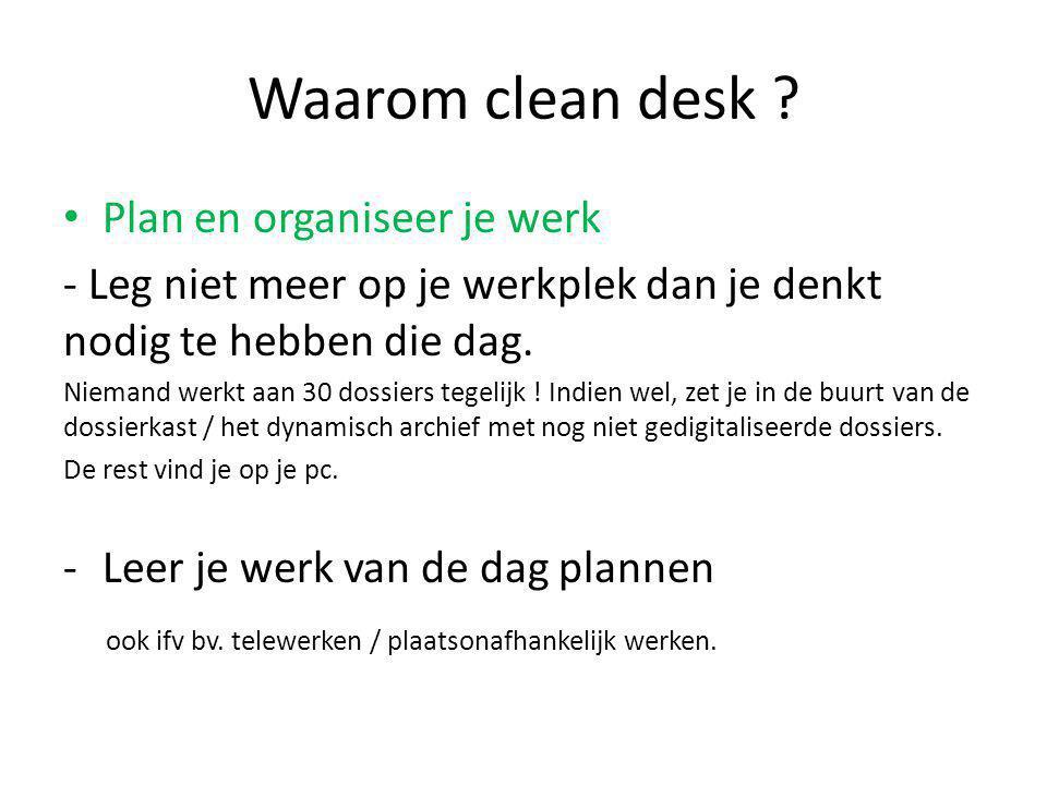 Waarom clean desk Plan en organiseer je werk