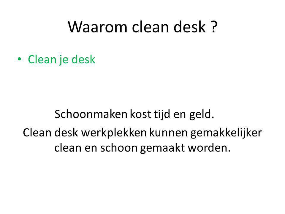 Waarom clean desk Clean je desk Schoonmaken kost tijd en geld.