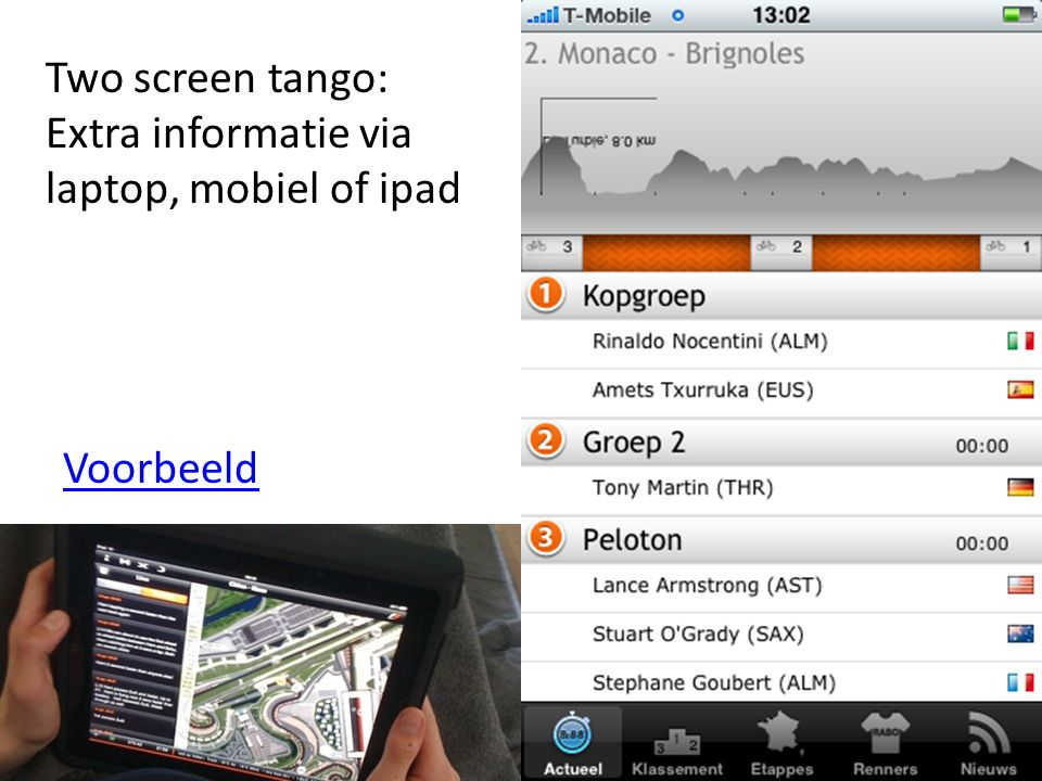 Two screen tango: Extra informatie via laptop, mobiel of ipad Voorbeeld