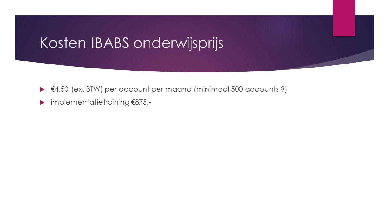 Kosten IBABS onderwijsprijs