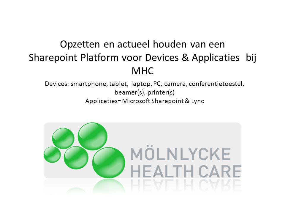 Applicaties= Microsoft Sharepoint & Lync