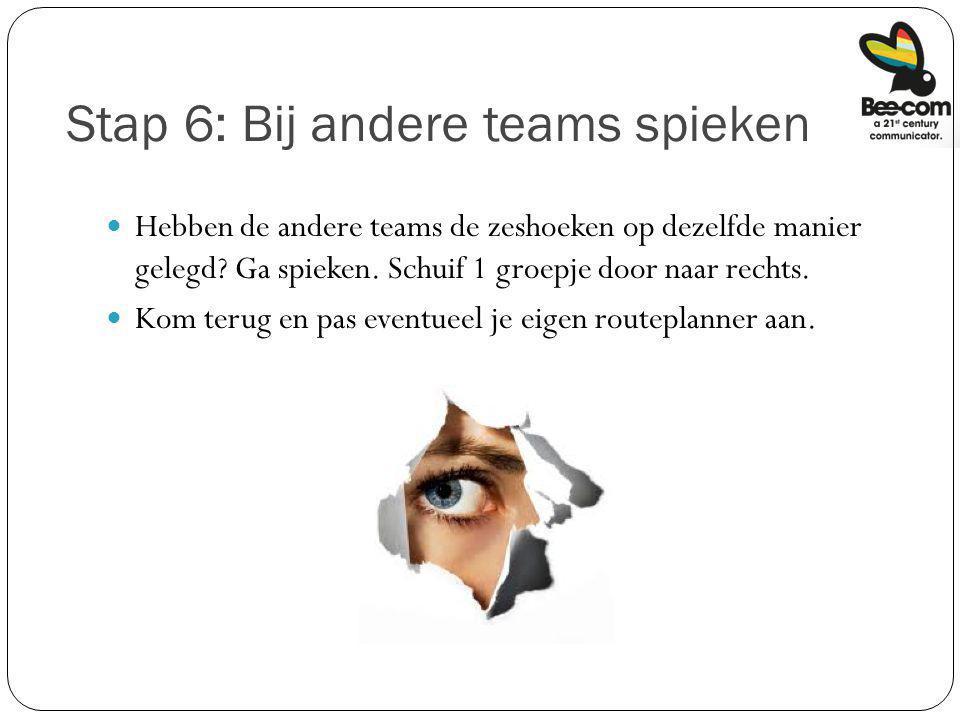 Stap 6: Bij andere teams spieken