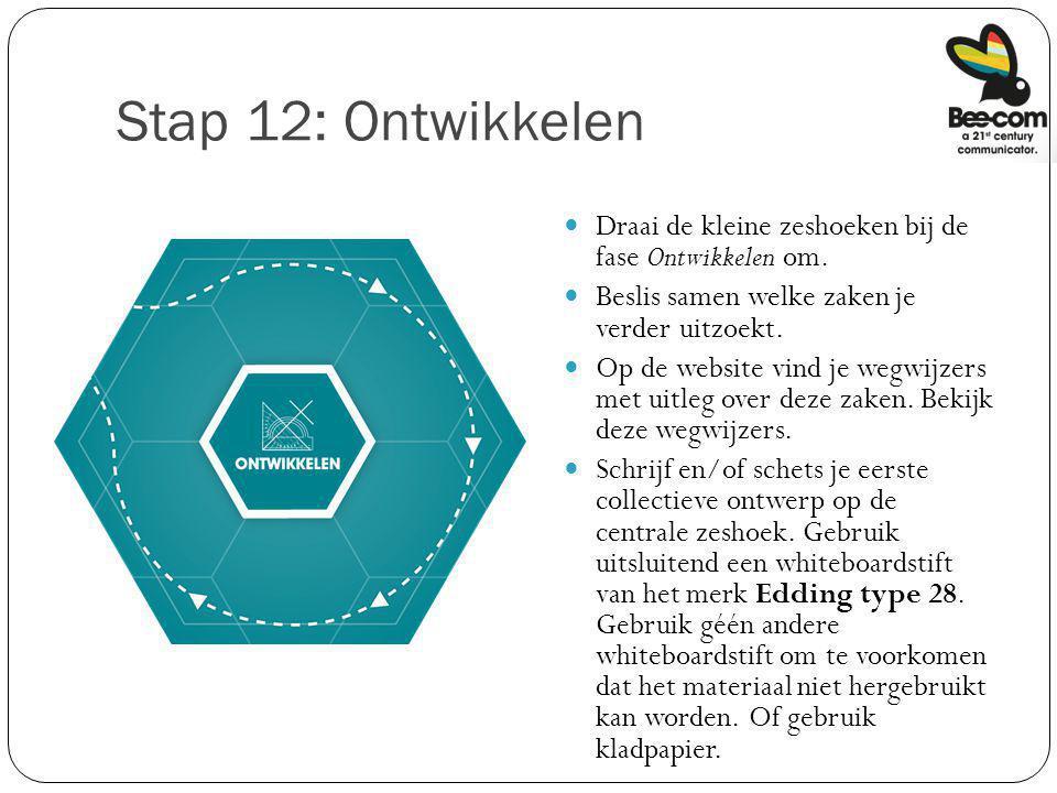 Stap 12: Ontwikkelen Draai de kleine zeshoeken bij de fase Ontwikkelen om. Beslis samen welke zaken je verder uitzoekt.