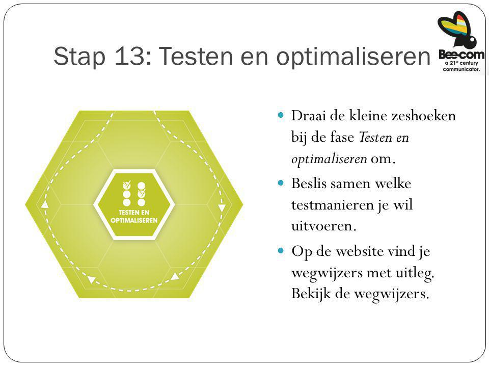 Stap 13: Testen en optimaliseren
