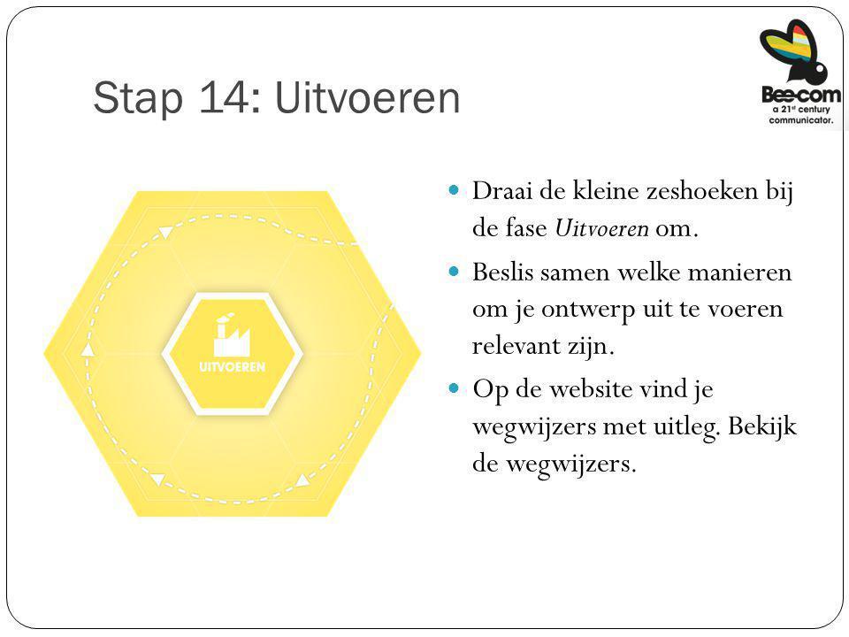 Stap 14: Uitvoeren Draai de kleine zeshoeken bij de fase Uitvoeren om.