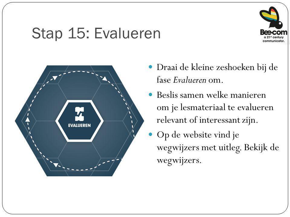 Stap 15: Evalueren Draai de kleine zeshoeken bij de fase Evalueren om.