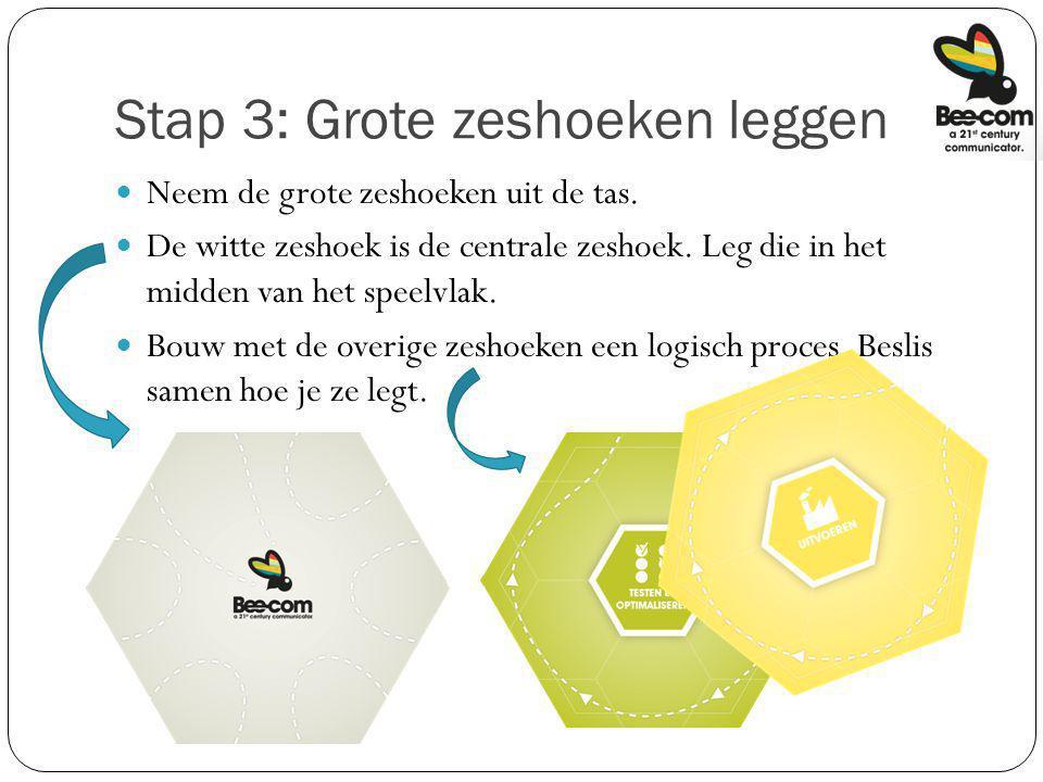 Stap 3: Grote zeshoeken leggen