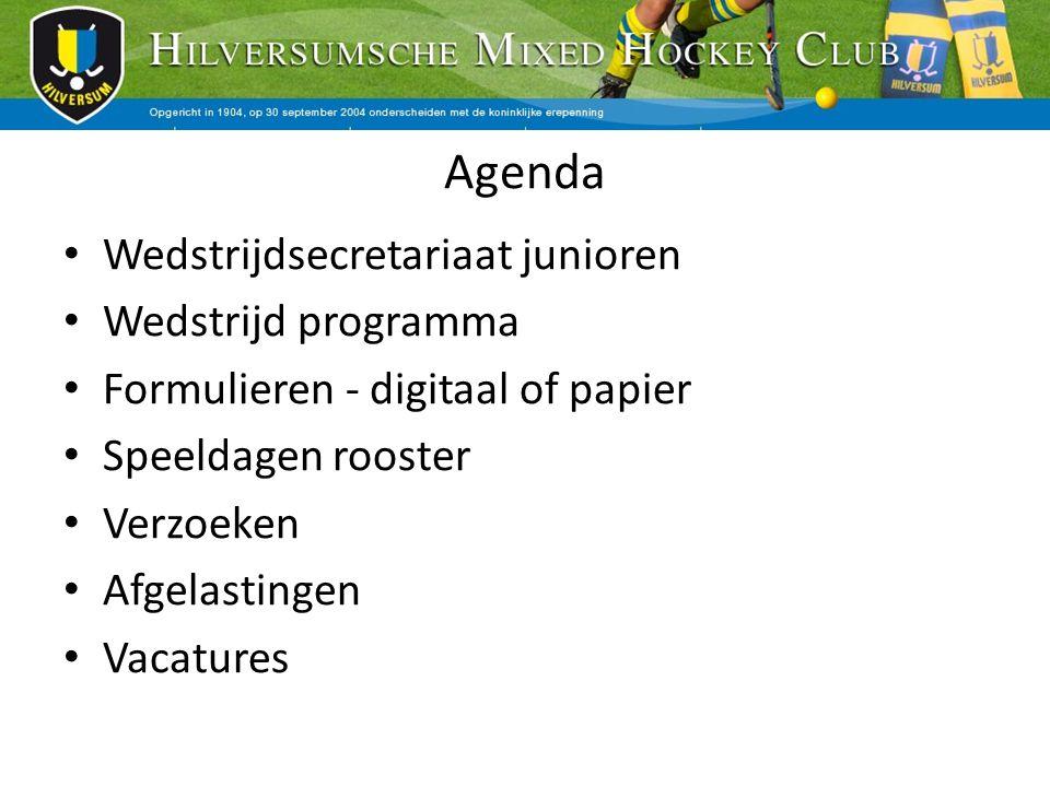 Agenda Wedstrijdsecretariaat junioren Wedstrijd programma