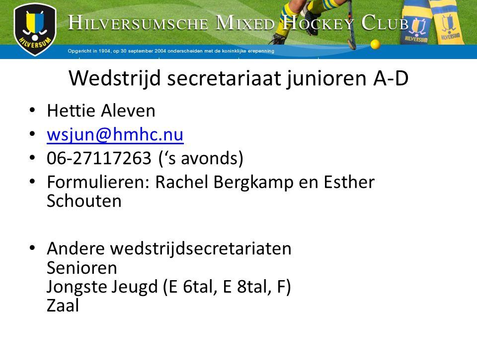 Wedstrijd secretariaat junioren A-D