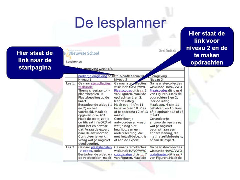 De lesplanner Hier staat de link voor niveau 2 en de te maken opdrachten.
