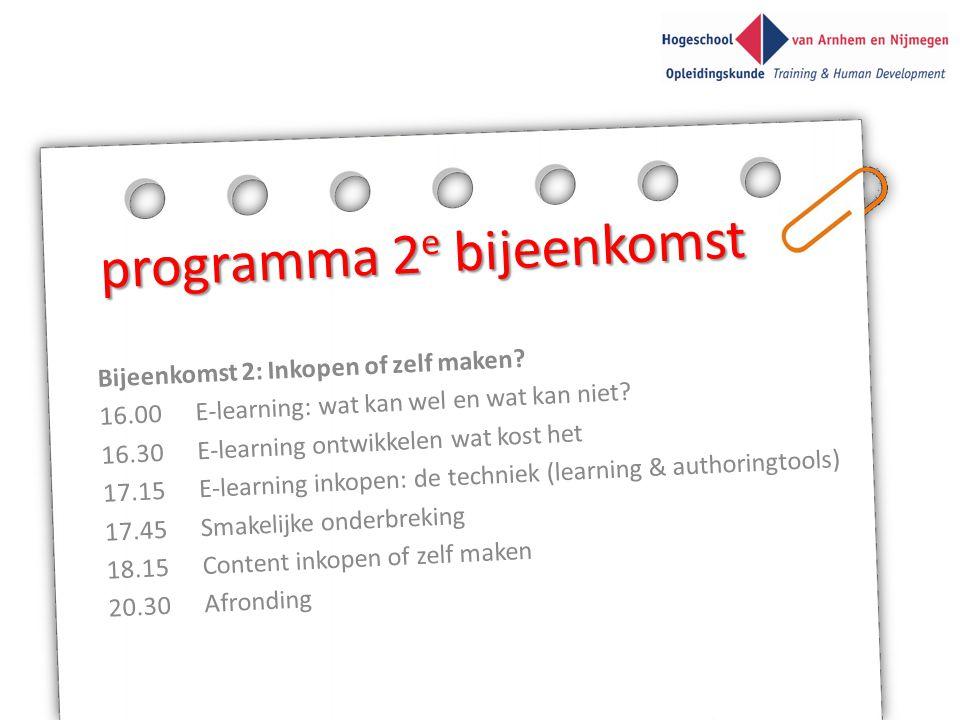 programma 2e bijeenkomst