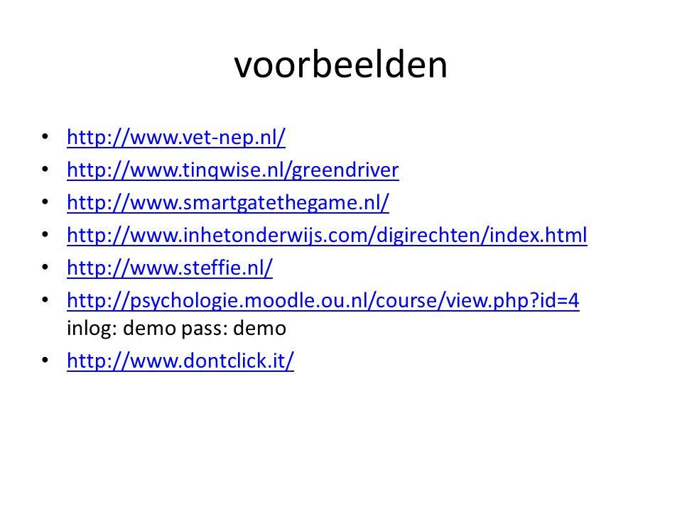 voorbeelden http://www.vet-nep.nl/ http://www.tinqwise.nl/greendriver