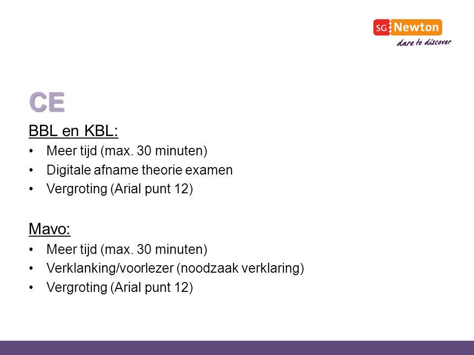 CE BBL en KBL: Mavo: Meer tijd (max. 30 minuten)