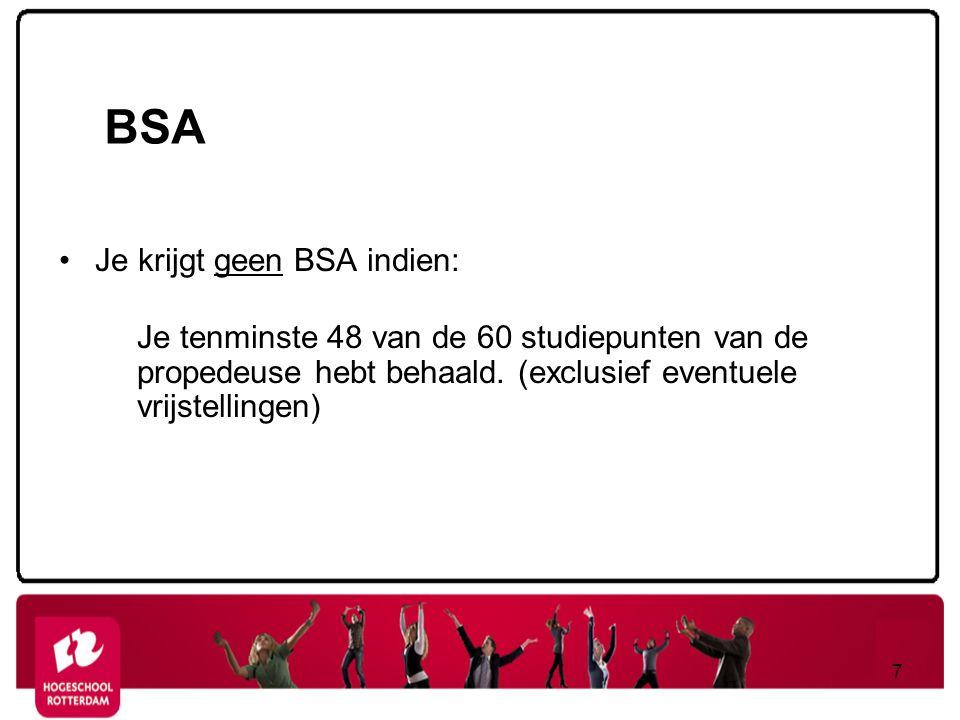 BSA Je krijgt geen BSA indien:
