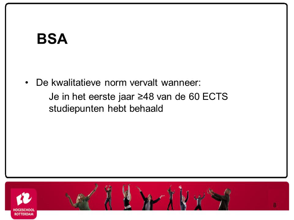 BSA De kwalitatieve norm vervalt wanneer: