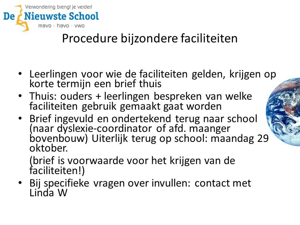 Procedure bijzondere faciliteiten