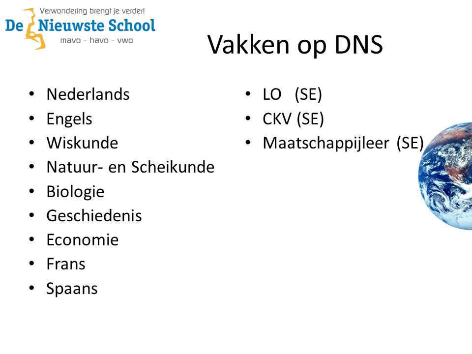 Vakken op DNS Nederlands Engels Wiskunde Natuur- en Scheikunde