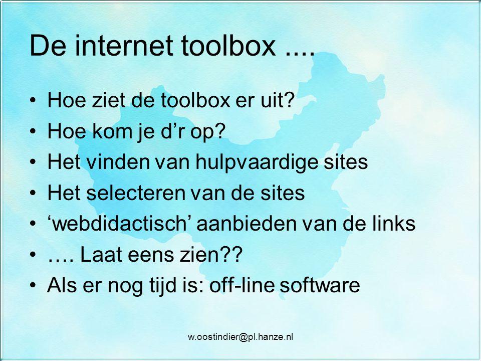 De internet toolbox .... Hoe ziet de toolbox er uit