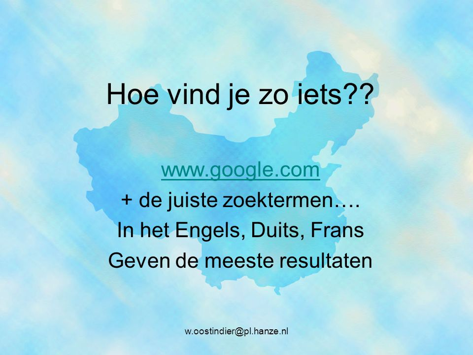 Hoe vind je zo iets www.google.com + de juiste zoektermen….