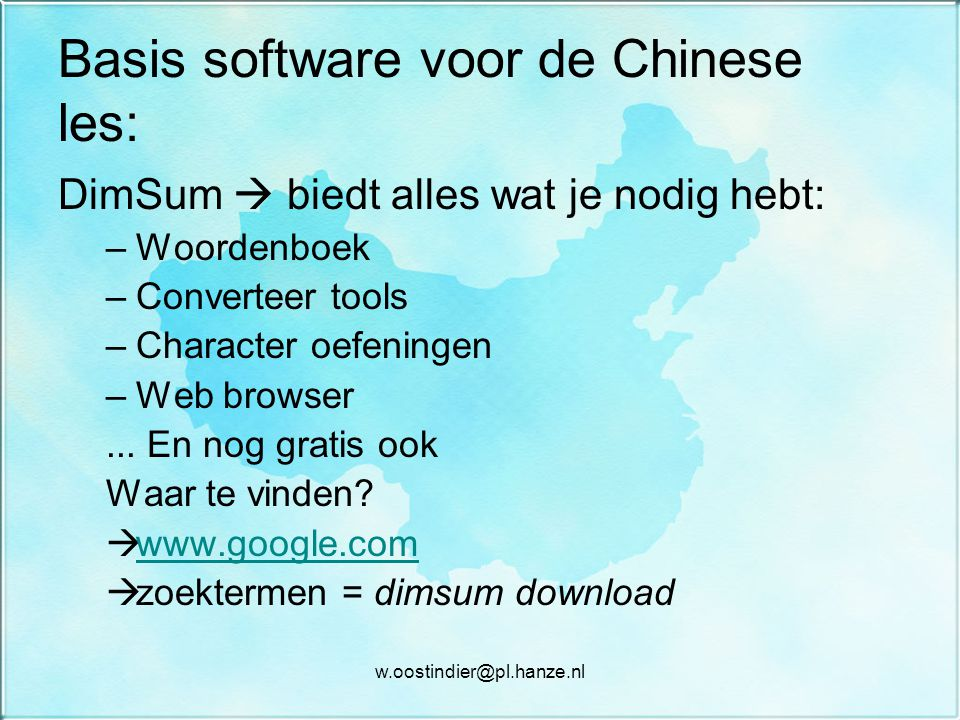 Basis software voor de Chinese les: