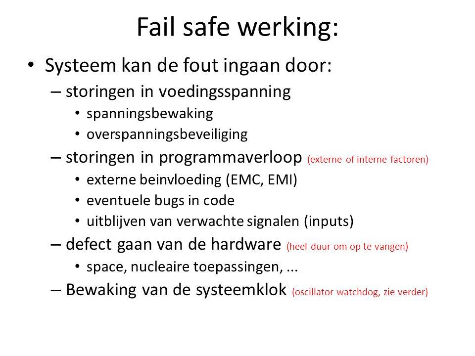 Fail safe werking: Systeem kan de fout ingaan door: