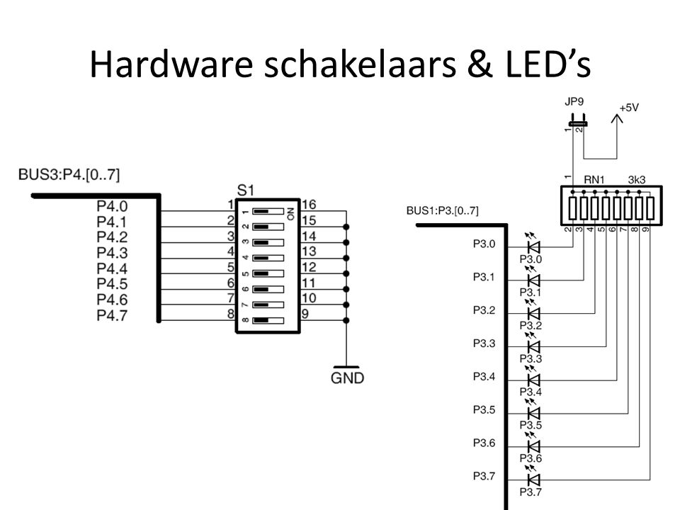 Hardware schakelaars & LED's