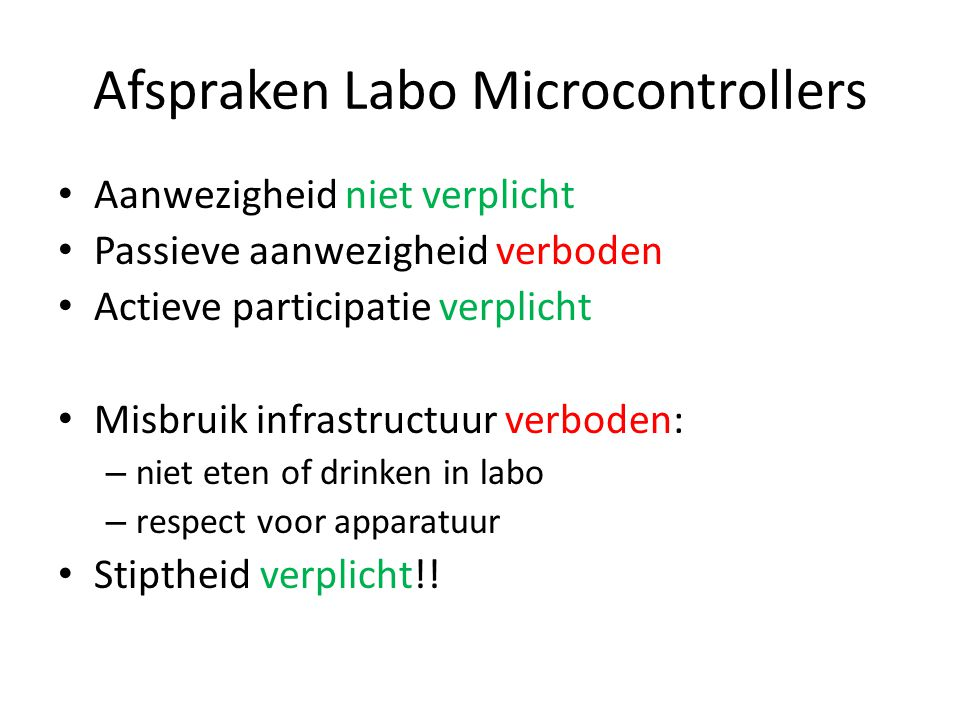 Afspraken Labo Microcontrollers