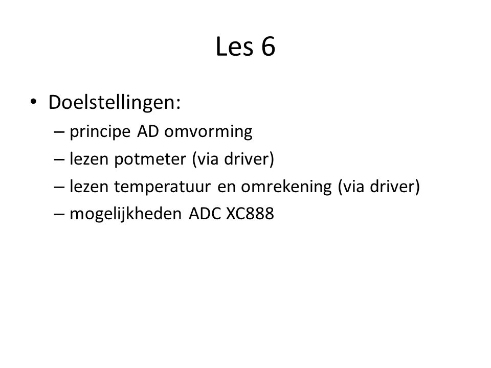 Les 6 Doelstellingen: principe AD omvorming